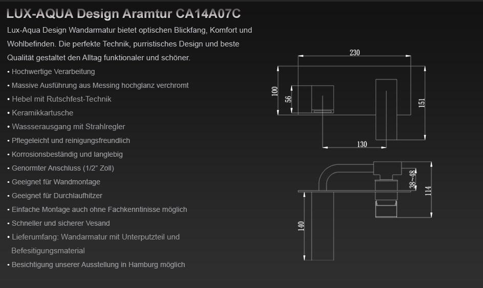 waschtisch armatur wasserhahn zur wandmontage ca14a07c. Black Bedroom Furniture Sets. Home Design Ideas